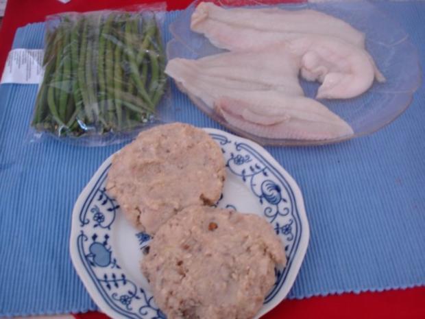 Schollenfilet mit extra feinen Bohnen und Walnuss-Kartoffeltaler - Rezept - Bild Nr. 2