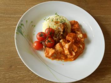 Garnelen-Fischpfanne an Metxasauce, süßen Thymianzwiebeln, Grilltomaten und Safranreis - Rezept