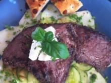 Steak auf Gurken - Kohlrabi Carpaccio - Rezept
