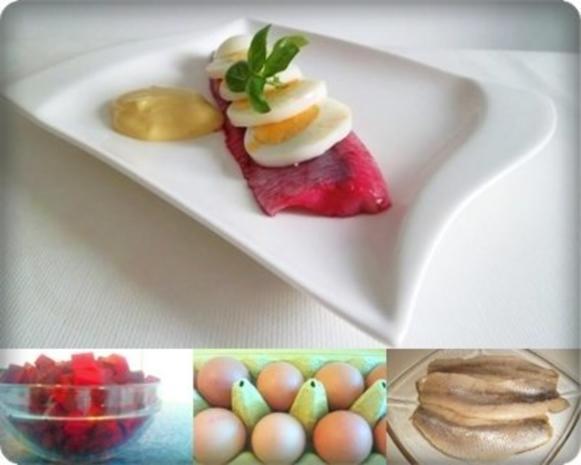 Rote Matjesfilets mit Eierscheiben - Rezept - Bild Nr. 3