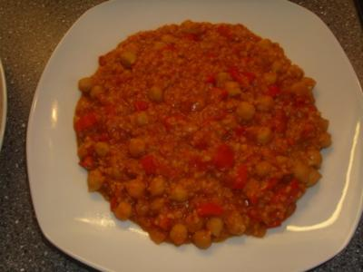 Bulgur-Kichererbsen und rote Linsen - Rezept