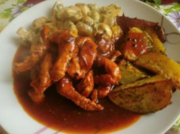 Schweinegeschnetzeltes in brauner Soße mit Rahmchampignons und Ofenkartoffeln - Rezept