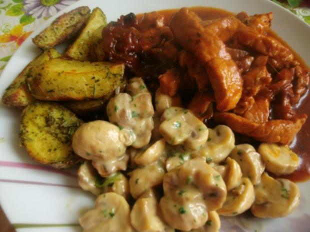 Schweinegeschnetzeltes in brauner Soße mit Rahmchampignons und Ofenkartoffeln - Rezept - Bild Nr. 20