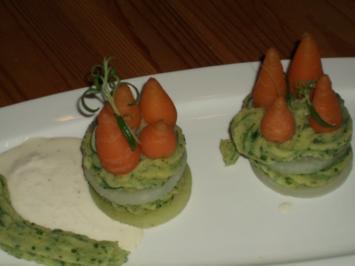 Rezept: Kohlrabi-Karottentürmchen mit  Rucculapüree