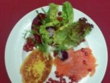 Gebeizter Saibling mit Salat und Reiberdatschi - Rezept