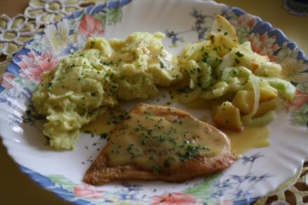 Schellfisch-Filet mit Apfel-Gurken-Gemüse und Honig-Senf-Soße - Rezept