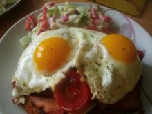 Leberkäse mit Tomaten Käse und Ei - Rezept