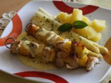 Spargel mit Kokos-Minze-Hollandaise und Hühnchen-Mango-Spieß - Rezept