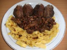 Fleisch: Schweinebäckchen mit Austernpilzen - Rezept