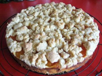 Käsekuchen - mit Aprikosen und Streusel - Rezept