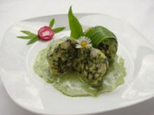 Spinatknödel mit Bärlauch-Gorgonzolasauce - Rezept