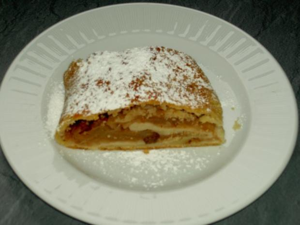 Apfelstrudel aus Topfenteig - Rezept