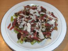 Gemüse: Grüner Spargel mit Austernpilzen und Serano-Schinken - Rezept