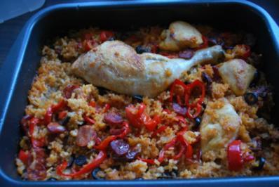 Spanische Hähnchen-Reis-Pfanne - Rezept