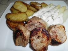 Filet mit rotem Pfeffer, dazu Bratkartoffeln mit Rosmarin und Spargel mit Bärlauchsauce - Rezept