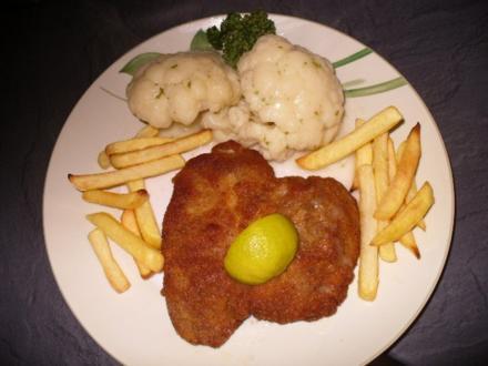 Schnitzel, Blumenkohl und Pommes frites - Rezept