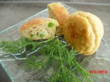 Muffin mit Speckwürfeln und Lauchröllchen - Rezept