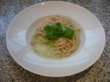 Dinkelspaghetti mit Kräuterrahmschaum - Rezept