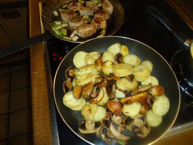 Filet vom Schwein mit Champignon-Bratkartoffeln - Rezept - Bild Nr. 7
