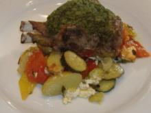 Ofengemüse mit Lammkoteletts und Bärlauchkruste - Rezept