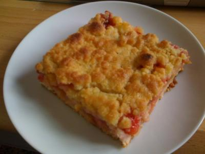 Rhabarber - Apfel - Erdbeer Streuselkuchen - Rezept