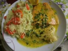 Gemüsereis mit 2 Sorten  Fisch in Sahnedillsauce - Rezept