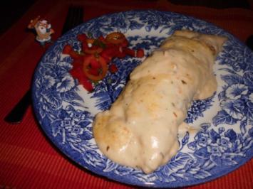 Spinat-Pfannkuchen mit Käsecreme>> - Rezept