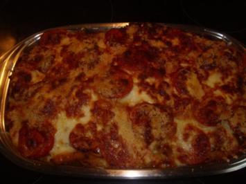 Nudelauflauf mit Tomaten und Mozzarella - Rezept