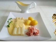 Spargel mit Jausenspeck, Pellkartoffeln und selbstgemachter Sauce Hollandaise - Rezept