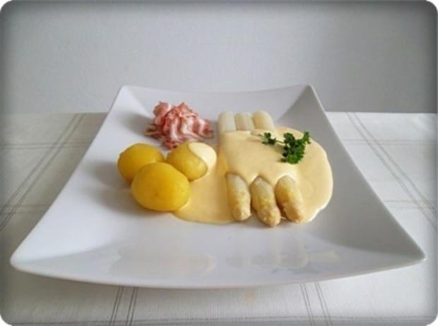 Spargel mit Jausenspeck, Pellkartoffeln und selbstgemachter Sauce Hollandaise - Rezept - Bild Nr. 19