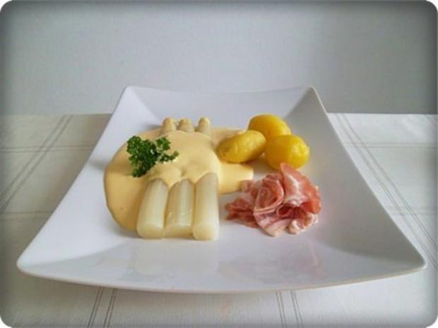 Spargel mit Jausenspeck, Pellkartoffeln und selbstgemachter Sauce Hollandaise - Rezept - Bild Nr. 18