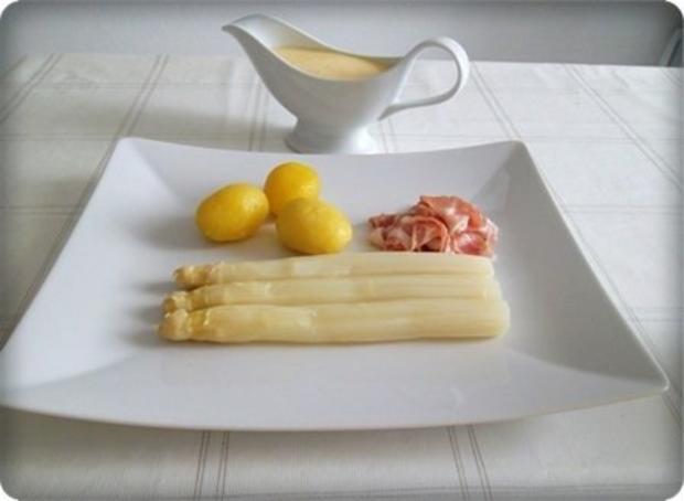 Spargel mit Jausenspeck, Pellkartoffeln und selbstgemachter Sauce Hollandaise - Rezept - Bild Nr. 13