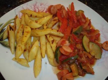 Schupfnudeln mit Gemüse und Würstchen - Rezept