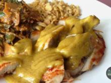 Kokos-Erdnuss-Curry-Hähnchen mit scharfem Asia-Gemüse und Sojaflocken - Rezept