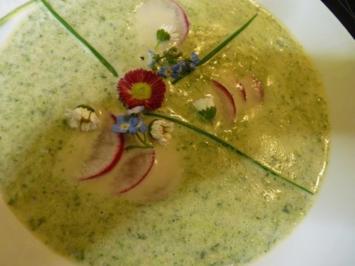 Radieschen-ZitronenMelisse-Suppe mit  Gänseblümchen u. Vergißmeinnicht - Rezept