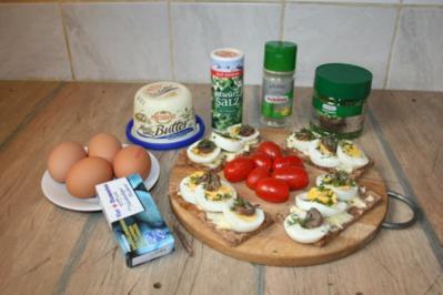Schwedische Ei-Sandwiches mit Anchovis-Filets - Rezept