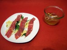 Beef Tea mit Julienne und Carpaccio - Rezept