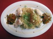 Seeteufel-Happen mit Ingwer auf Reisnudeln mit Nuss-Pesto und Paprika-Chutney - Rezept