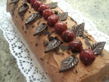 Rezept: Backen: Biskuitrolle mit Schokosahne und Sauerkirschen