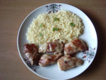 Rezept: Schweinefilet mit Schinken und Käse, Zitronensoße und Reis