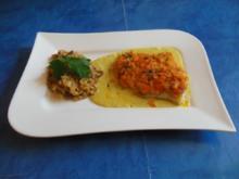 Fisch: Heilbuttfilet mit Karotten-Koriander-Haube und Currysoße - Rezept