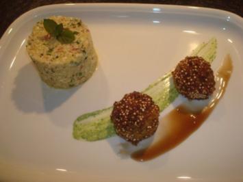 Falafel im Quinoa-Mantel mit Tabbouleh vom Blumenkohl - Rezept