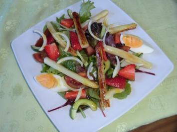 Spargel- Erdbeersalat - Rezept