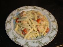 Pasta mit Garnelen in einer Kräuter-Sahnesauce - Rezept