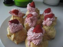 Windbeutel mit Erdbeer-Frischkäse-Füllung - Rezept