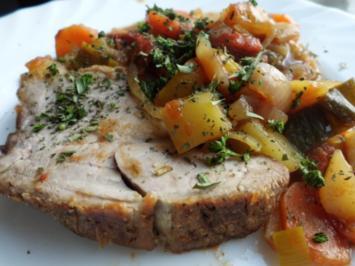 Fleisch, Schwein: Schweinebraten mít Schmorgemüse an Bierbalsamicosoße - Rezept