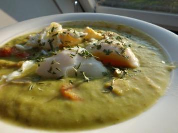 Rezept: Suppe: Grüne Spargel-Pesto-Cremesuppe mit Ei, Tomate und Wurst