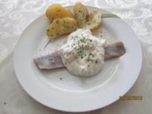 Matjesfilets in Sahnesoße mit Ofenkartoffeln - Rezept