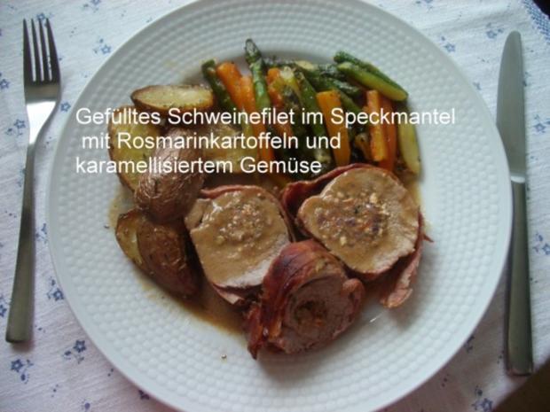 Gefülltes Schweinefilet im Speckmantel - Rezept
