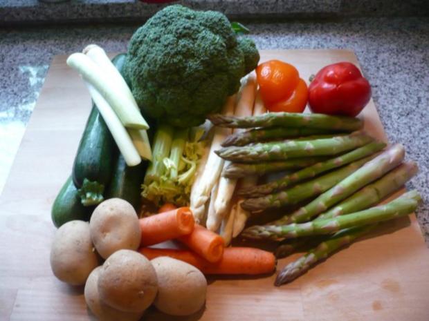 Putenoberkeule im Bratschlauch mit Gemüse-Crossover und Thymiansahnesauce - Rezept - Bild Nr. 6